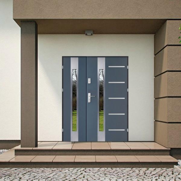Двустворчатые стеклометаллические двери